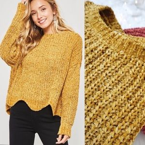 Chenille Ochre Scalloped Loose Knit Sweater